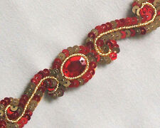 Red & Gold. 3 Yards. Hand-Beaded Trim. Embroidered in Sequins, Bullion & Gems