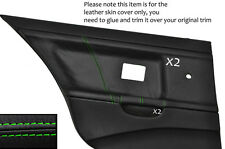 GREEN STITCH 2X REAR DOOR CARD LEATHER COVERS FITS BMW E36 SALOON SEDAN 91-98
