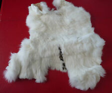 Spotted White Real Canadian Rabbit Fur Pelt Skin 14'' X 12''