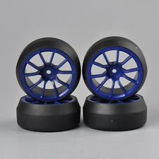 3mm Offset 1:10 RC Car  Speed Drift 0 Degree Tires Tyre Blue Wheel Rims 4PCS