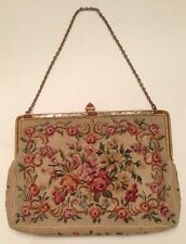 Vintage Petit Point Floral Bouquet Evening Hand Bag Purse Metal Closure Bakelite