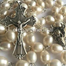 RARE 9MM Freshwater pearl BEADS CATHOLIC ROSARY CROSS GIFT Crucifix NECKLACE BOX