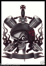 EVIL NAILHEAD SKULL CHOPPER BIKER MOTORCYCLE TEMPORARY TATTOO~HALLOWEEN COSTUME