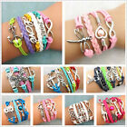 NEW Jewelry fashion Leather Infinity Charm Bracelet Silver lots Style Pick DS