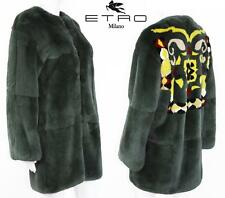NEW $9000 ETRO REAL FUR COAT JACKET ABSTRACT DESIGN GREEN GRAY It. 42 - US 6