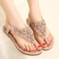 Women New Bohemia Floral Beads Slippers Flip Flop Flat Sandals Shoes Pink US 5.5