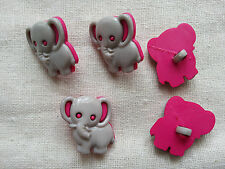 6 x Kids Buttons Clothing Sewing Knitting Card Making Elephant