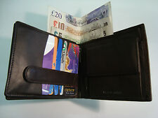 Soft Leather Gents Wallet Large Size Dark Brown 15 Credit Card Slots BNWT
