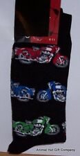 Coloured Motorbikes on Black Mens/Womens Socks