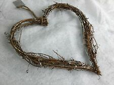 28cm Silver Glitter Twig Heart Wreath Christmas Decoration Door Gisela Graham