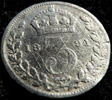 1891 QUEEN VICTORIA JUBILEE HEAD .925 SILVER THREEPENCE 3d COIN (CLEANED)
