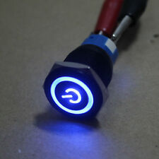 Momentary  19mm 12v Blue LED Black case Power symbol&angle eye Metal Push Switch