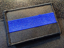 Solid Thin Blue Line United States Flag Patch Police SWAT velcro Backing