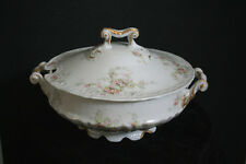 Theodore Haviland Limoges Covered Vegetable Bowl Soup Tureen Roses 1903 Pat Appl
