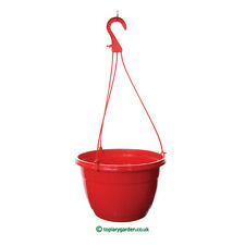 5 x quality red plastic Teku Hanging Plant Pots / Baskets  - 27cm diameter.
