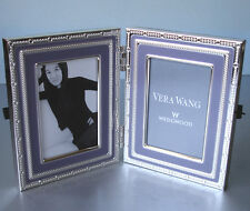 """Vera Wang Wedgwood WITH LOVE Folding Double Frame Lavender/Silverplate 2x3"""" New"""