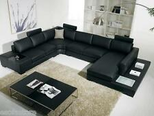 Black Sectional Sofa T35 VIG Contemporary Bonded Leather - Free Shipping