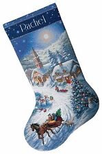 COUNTED CROSS STITCH Christmas Stocking KIT Sleigh Ride at DUSK Dimensions 16""