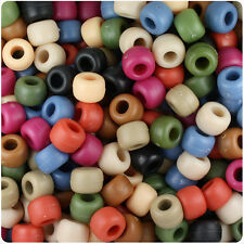 500 Americana Mix Matte 9x6mm Barrel Pony Beads USA Made by The Beadery