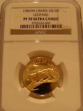 Liberia 1985FM Gold $100 NGC PF-70UC Leopard