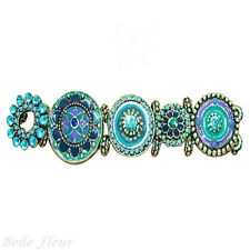 Secret Garden Floral Disc Stretch Bracelet Shades of Blue