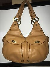100% Authentic Lamarthe Tan Leather Medium Satchel Shoulder Bag Purse Paris EUC