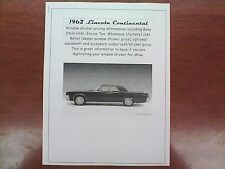 1962 Lincoln Continental factory cost/dealer sticker pricing for car+options--62