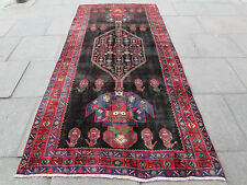 Old Traditional Persian Rug Wool Oriental Hand Made Black Rug  306x146cm