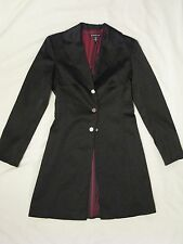 Bebe Black Stretch Satin Coat Jacket 'Ebony Black' Sz S - VERY Rare Style HTF
