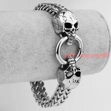 Cool Gothic Skull Chain Bangle 316L Stainless Steel Silver Men's Bracelet Gift
