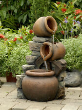 Solar Powered Cascading Bowl Spilling Urns with Wheel Water Feature With LED's
