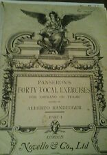 Panserons forty vocal exercises for soprano & tenor. Albrrto Randegger.  Novello
