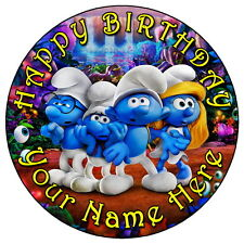 """THE SMURFS PARTY - 7.5"""" PERSONALISED EDIBLE ICING CAKE TOPPER"""