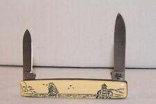 CASE XX USA 1979 1 DOT LIGHTHOUSE SCRIMSHAW PEN KNIFE #278