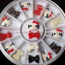 12 Pcs 3D Hello Kitty Fimo Slice & Bow Tie DIY Nail Art Decoration+Wheel #EB-017