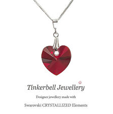 925 S Silver Necklace Chain w Swarovski Siam Love Red Crystal Heart Pendant
