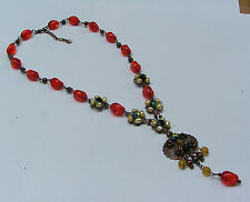 VICTORIAN STYLE COPPER PENDANT NECKLACE RED GLASS BEADS AND FRESHWATER PEARLS