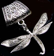 Scarf Pendant Silver Pewter Dragonfly Flight  Slide