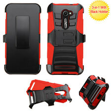 BLACK Tuff Hybrid Armor Hard Case Cover Belt Clip Holster For Asus ZenFone 2E