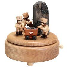 Caja de música natural con empleados Mineros 16cm Reloj NUEVO Seiffen