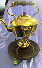 BRASS KETTLE ON STAND WITH SPIRIT BURNER AND A BAKERLITE BASE