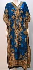 PLUS SIZE ABSTRACT PAISLEY FLORAL KAFTAN MIDI DRESS TURQUOISE 20 22 24 26