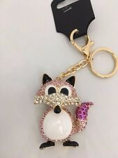 Cute & Funky Foxy Fox  Handbag Keyring Diamante Rhinestone Charm Bling *NEW*