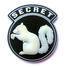 TOP SECRET SQUIRREL GLOW IN DARK 3D PVC BADGE TACTICAL ARMY SWAT RUBBER PATCH