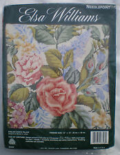 "Elsa Williams Floral ""English Chintz Pillow"" Needlepoint Kit Roses Lilacs More"