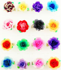 Wholesale Lot 20pcs Silver Plated Mixed Color Adjustable Girl's Rose Flower Ring