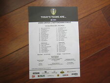 2014-15 LEEDS UNITED v NOTTINGHAM FOREST  OFFICIAL COLOUR TEAM SHEET