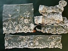 Assorted VINTAGE handmade lace appliqué on net pieces for CRAFT SEWING