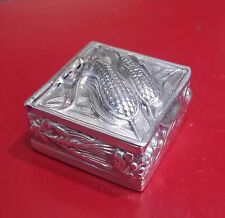 Vintage Euro  Silver Small Square -shaped Pill Box With Corn & Leaves Design