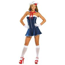 Super Lindo Damas Azul Marino Naval Sailor Chick Girl uniforme Dress Costume UK 8-10